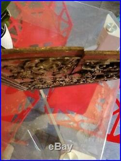 Ancien panneau bois sculpté asiatique chinois chine dragon Asie art mythologie