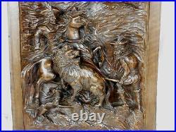 Ancien panneau bois sculpté madieval chasse au lion antique carved wood panel