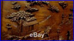 Ancien panneau chinois sculpté en bois de fer antique chinese wood sculpture 1