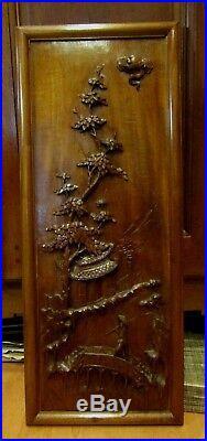 Ancien panneau chinois sculpté en bois de fer antique chinese wood sculpture 2