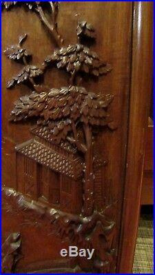 Ancien panneau chinois sculpté en bois de fer antique chinese wood sculpture 3