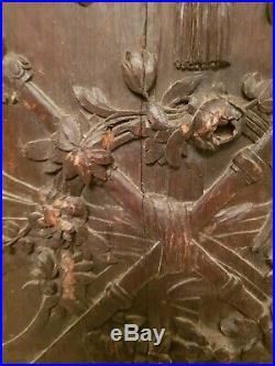 Ancien panneau de boiserie bois sculpté XVIII ème s, XIX ème s