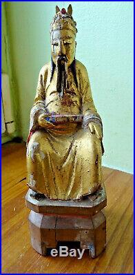 Ancien personnage carved wood, bois sculpté doré chine wiet. Japan, indochine n°3
