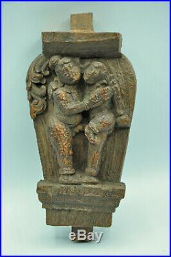 Ancien pièce de bois sculpté scène érotique collection art populaire