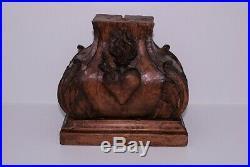 Ancien piedestal socle en bois sculpté Sacré Coeur pour statue religieuse XIXe