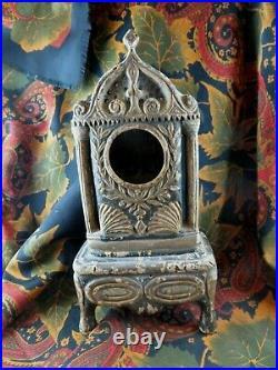 Ancien porte montre gousset bois polychrome sculpté epoqu XVIIIE ou reliquaire