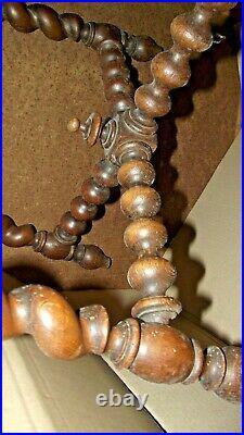 Ancien rare Tabouret 1900 Bois chene Sculpté Art Populaire torsade et toupie