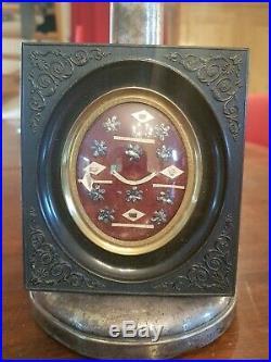 Ancien reliquaire XIX ème s, joli cadre en bois noirci sculpté religion