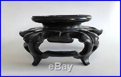 Ancien socle CHINOIS en bois sculpté CHINE 19ème #4