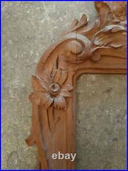 Ancien superbe Cadre Xix Ème Bois Sculpté Decor Floral Chêne Massif