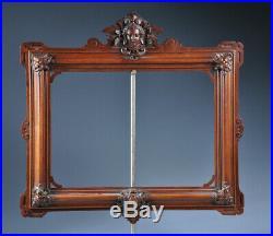 Ancien superbe cadre XIX 1900 bois sculpté Empire antique old frame wood carved