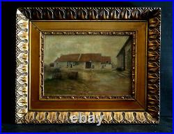 Ancien tableau XVIII XIX huile paysage ferme signé cadre sculpté bois & stuc