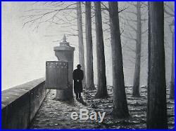 Ancien très beau tableau en bois sculpté et peint, signé Hery, Lyon les quais