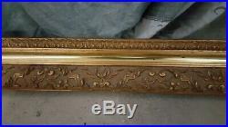 Ancien très grand cadre bois stuc doré décor feuillage fin XIXème 113x88cm 9kg