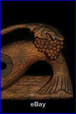 Ancien verrou, clef du fût Alsacien, art populaire bois sculpté fin XIXeme