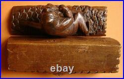 Ancienne Boîte A Timbres En Bois Sculpté L'esprit De La Foret 3 Compartiments