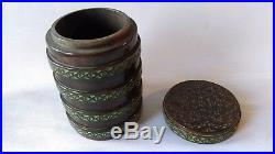 Ancienne Boite Cylindrique De Fumeur Tchécoslovaque Richement Sculptée