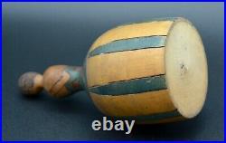 Ancienne Boite à Poudre Figurine Femme en Bois Sculpté Peint Art Déco