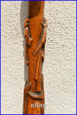 Ancienne Canne Art Populaire Bois Sculpté Visage Humain Et Animaux