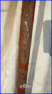 Ancienne Canne Chinoise signée Sculptée de 5 scénes de Danse Macabre Squelettes