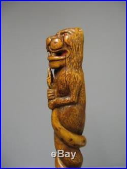 Ancienne Canne En Bois Sculpté. L'Isle Adam. Canne En Buis
