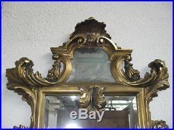 Ancienne Console Avec Miroir En Bois Doré Sculpté De Style Louis XV Baroque