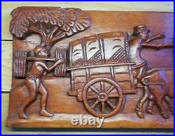 Ancienne Déco Murale En Bois Sculpté Scène Rustique, Vintage Décoration