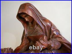 Ancienne Grande Statue Piéta Descente De Croix Marie Jesus Style Bois Sculpté