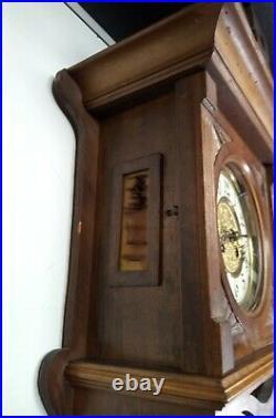 Ancienne HORLOGE PENDULE Murale 1900 BOIS SCULPTÉ Poinçon Horloger BALANCIER