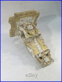 Ancienne Jolie Console D'applique Regence Bois Sculpte Dore Laque Epoque XVIII