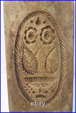 Ancienne Marque à beurre plaque bois sculpté Art populaire Savoie Val d'Aoste