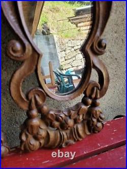 Ancienne Paire De Miroir, Bois Sculpte, Putti, Angelot, Xviiieme, Mirror, Bois Sculpte