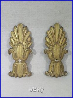 Ancienne Paire De Palmettes Bois Sculpte Dore Epoque Charles X