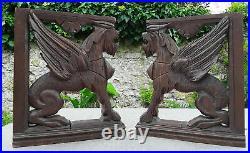 Ancienne Paire Ornement Bois Sculpte Chimere Dragon Gothique Griffin No Etagere