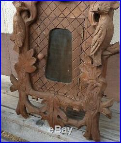 Ancienne Pendule, Horloge, Carillon, Coucou, Forêt Noire en Bois sculpté H 70 cm