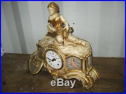 Ancienne Pendule Horloge En Bois Sculpté De Style Baroque Venitien