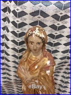 Ancienne Statue, Bois Dore, Xviiieme, Vierge, Polychrome, Dorure, Bois Sculpte