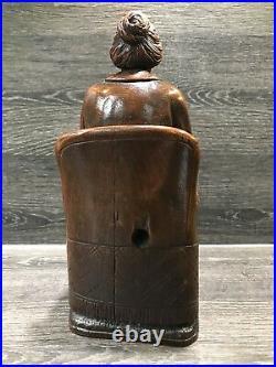 Ancienne Statue De Femme Bois Sculpté Buis Signé A Clercq Art Populaire 1904