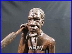 Ancienne Statue En Bois Sculpte Chasseur Guerrier Art Africain