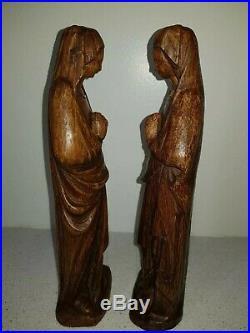 Ancienne Statue en bois sculpté, Paire de vierge Marie, Eugène Quentric