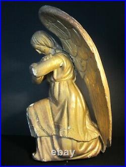 Ancienne Statuette Ange Aile Bois Sculpte Dore/old Wooden Angel/statue Angelot