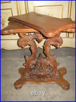 Ancienne Table Pivotante Porte Télévision En Bois Sculpté-style Baroque