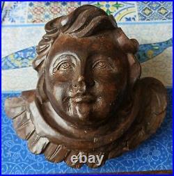 Ancienne Tete Ange Sculpte En Bois