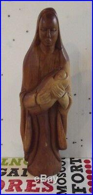 Ancienne Vierge Marie & L'enfant Sculpté Statue Bois Massif Vintage 1950. 45,5cm