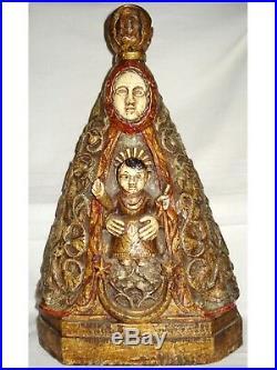 Ancienne Vierge à l'enfant sculpté polychrome espagnole catalan