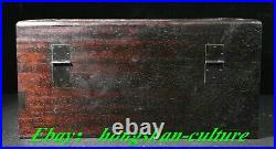 Ancienne boîte à bijoux en bois de palissandre sculpté dragon motif phénix