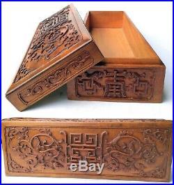 Ancienne boite à bijoux en bois sculpté Chine