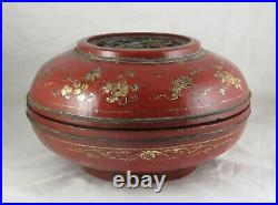 Ancienne boîte en bois sculpté et laque rouge Chinois Chine début XXè siècle