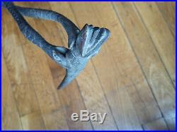 Ancienne canne bois sculpté serpents salamandre art populaire travail poilu WW1