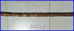 Ancienne canne bois sculptée régisseur, coupe de l'amitié, marine, art populaire